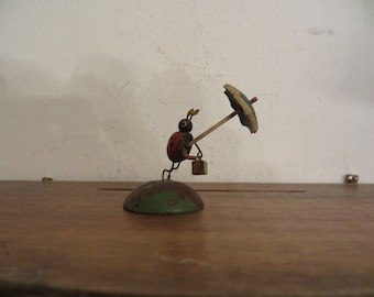 Vintage German Erzgebirge Miniature Ladybug Wood Figurine w/ free ship