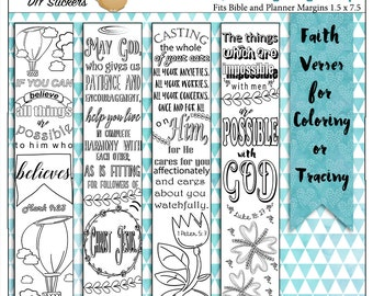 Printable Coloring Bible Journaling Margin Strips Faith Verses for Wide Bible Margins or Planner Sticker Decoration, or Bookmarks