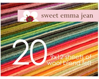 FELT - Wool Felt Sheets - Choose Any Twenty (20) - Wool Blend Felt