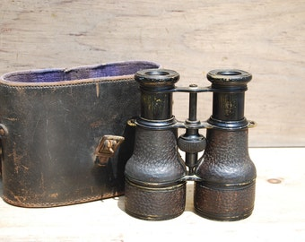 Antique Leather-Bound Binoculars, Colmont Paris