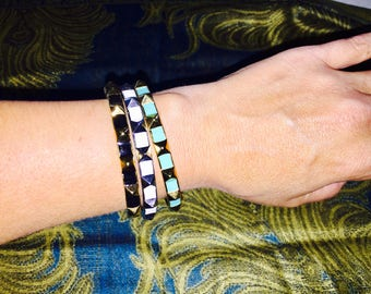 Sale!Vince Camuto brass spiked bracelets-black , white, turquoise .