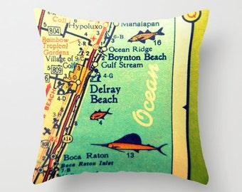Delray Beach Pillow Covers 18x18 Boca Raton Map Throw Pillows for your Home Decor Boynton Beach Gifts,