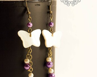 White mother of Pearl butterfly earrings purple and white beads
