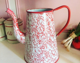 Red and white vintage enamel coffeepot. Vase. 1940 s. french vintage.