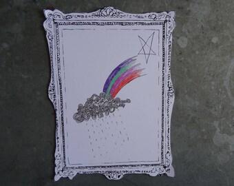 Rain and Rainbow Frame Postcard