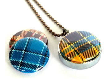 Plaid Locket Necklace - Tartan Camping Locket Rustic Necklace Flannel Guy Girl Gift Silver Steel Jewelry Magnetic Jewelry Recycled Polarity