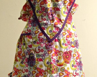"Day of the Dead, Dia de los Muertos-Handmade Bib Skull and Heart Apron - ""Ghoul of My Heart"""