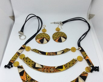 Handcrafted African Fabric Bib Necklace