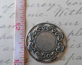 Floral full Porthole Settings Oxidized Silver 23mm