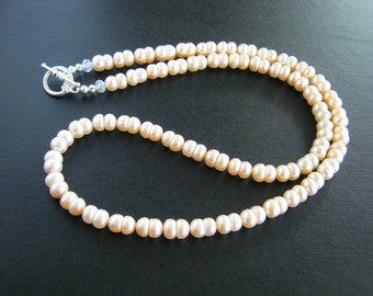 Long Light Apricot Freshwater Pearl Necklace (24.5 inches)