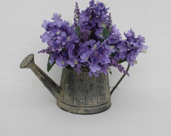 Spring lilacs watering can silk flower arrangement, Silk centerpiece, Spring table decoration, eater decor, gift for Mom