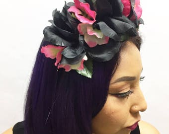 Black Rose and Pink Hydrangea Flower Crown Headband