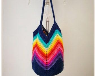 Crochet Bag, Crochet Chevron bag, Crochet Shoulder Bag, Crochet Tote Bag, Crochet boho Bag, Boho Bag, Tote Bag, Summer Bag, Gift for Her
