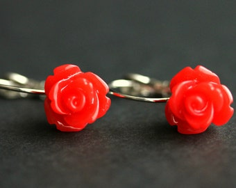 Red Rose Dangle Earrings. Red Flower Earrings. Rose Earrings. Red Earrings. Silver Lever Back Earrings. Flower Jewelry. Handmade Jewelry.