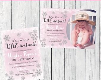 Winter ONEderland Birthday Invitation-   ***Digital File*** (ONE-WinterPinkPIC)