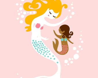 "5X7"" mermaid mother & daughter giclee print on fine art paper. light pink, blonde, mocha skin tone."