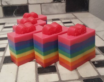 Love Spell Soap, Shea Butter Soap, Love Spell Soap, Glitter Soap, Rainbow Soap, Valentines Day Soap, Party Favors Soap, Layered Soap, Pride