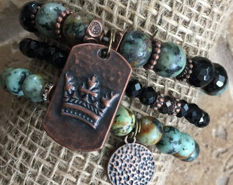 Copper & African Turquoise Gemstone Beaded Bracelet Set - Bohemian Jewelry