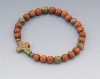 Sideways Cross Beaded Prayer Bracelet - Unakite and Wood - Christian Jewelry - Friendship Gift - Item # 304