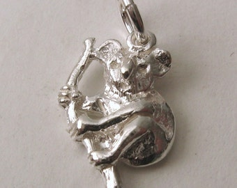 Genuine SOLID 925 STERLING SILVER 3D Koala Australian Animal charm/pendant