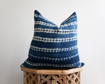 18X18 Authentic African Indigo Pillow Cover