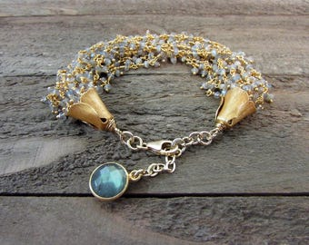 Labradorite Multi-Strand Gemstone Bracelet, Labradorite & Gold Bracelet