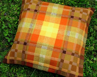 Throw Pillow Decorative Cushion Covers Handwoven design fabric Yellow Orange Brown Green Checked
