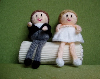 PDF Knittng Pattern - Bride and Groom Wedding Toppers