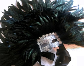 Venetian Chandelier Crystal & Black Rooster Feather Masquerade Mask