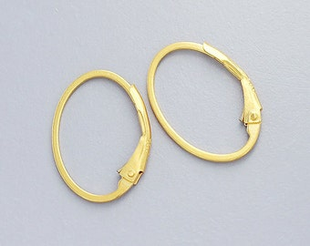 2 pairs of Sterling Silver 24k Vermeil Style Oval Lever Back Earwires 12x17 mm. :vm0198