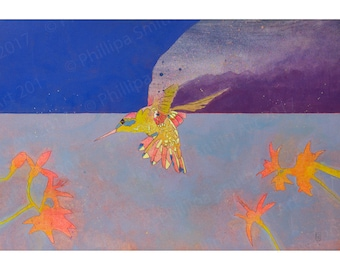 art print of original illustration, Hummingbird