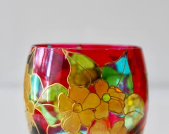 Vintage Boho Hand-Painted Stained Glass Candle Holder