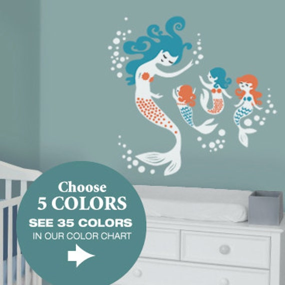 Superb Mermaid Wall Decals Mural For Mermaid Nursery To Match