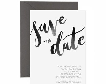Watercolor Modern Calligraphy Save the Date Invitation | Watercolor Save the Date | Watercolor Script Save the Date