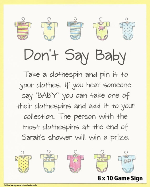 Great Donu0027t Say BABY Baby Shower Game Sign Baby Shower
