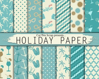 Holiday Digital Paper: Holiday paper pack with palm trees, beach slippers, sun glasses, camera, anchors, in shades of blue and cream.
