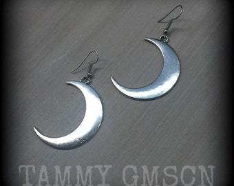 Crescent Moon earrings Goddess Artemis Moon Child Antiqued Silver Moon earrings Pierced ears Stretched lobes Tapers Tunnels Plugs 0g 2g 4g