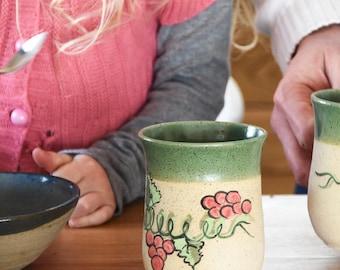 Painted Cup, Green Ceramic Mug, Coffee Mug, Painted Coffee Mug, Italy Espresso Cup, Tall Coffee Cup Milk Cup, Chocolate Mug, Ceramic Tea Cup