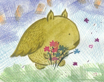 Greeting card: Kukunos with wildflowers  hurries to congratulate friends. Hand-drawn illustration.