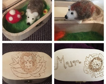 Needle Felted Hedgehog Mini World in a Box with Toadstool, with Woodnurned Pyrography Engraving.