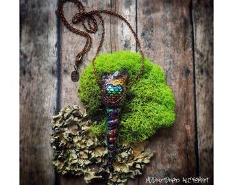 "Rainbow shell w Quartz and Amethyst Crystals - Rainbow Copper sea shell ""Unicorn Horn"" Necklace"