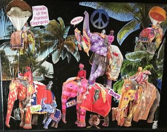 Elephant Peace Parade. Original Mixed Media Collage Art Canvas