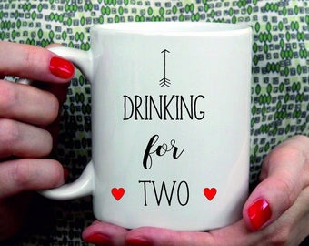 Personalised Ceramic Mug - Drinking for Two - Pregnancy Announcement Mug / Gift