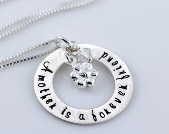 """A Mother is a Forever Friend Necklace - 1"""" Personalized Sterling Silver Pendant, Sterling Silver Charm, Swarovski Birthstone Crystals"""