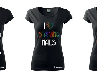 T-shirt - HOLO Rainbow - perfect fpr every Stampaholic - black tee - nail stamping plates (B. Loves Plates )