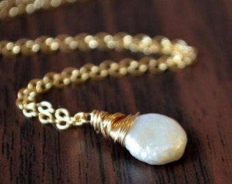 White Coin Pearl Necklace, Sterling Silver or Gold, Natural Freshwater Pearl, Simple Summer Jewelry, Wire Wrapped, Free Shipping