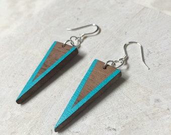 Silver and Wood - Wood Dangle Earrings - Painted Wood Earrings - 5th Anniversary Gift - Silver and Wood Jewelry - Portland Jewelry