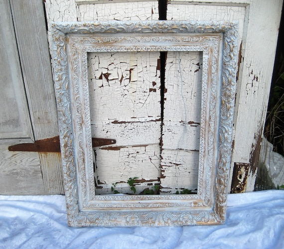 Large distressed picture frame, white gold rustic frame, antique ...