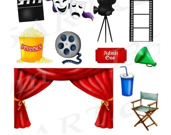 50% OFF Movie Clipart, Movie Theater Clipart, Movie Night Clip art, Cinema, Movie, Scrapbooking, Party Invitations, PNG, Commercial
