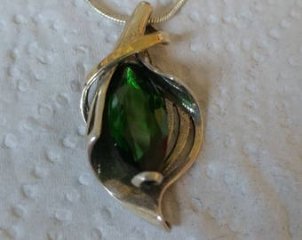 Silver Cala Flower Necklace, 925 Sterling Silver Necklace, Green Marquise  Necklace, Gemstone Pendant, Unique Jewelry, Gold Silver and Green